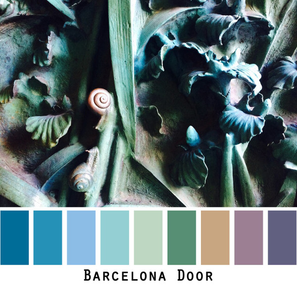 Barcelona door of La Sagrada Familia church by Gaudi photographed by Inese Iris Liepina and made into a color card for custom ordering from Wrapture by Inese