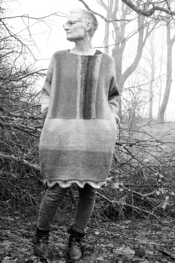 Black and White photograph of Oversized chunky knit sweater dress OS one of a kind wool kid mohair cotton silk hand crochet edge, Wrapture by Inese on model who is a size S with ancient oak branches in background