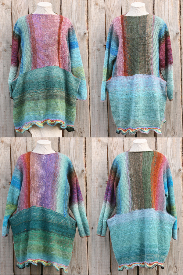 Barcelona Door color way of Oversized chunky knit sweater dress OS one of a kind wool kid mohair cotton silk hand crochet edge, knit by Wrapture by Inese and showing 4 versions of the same dress. Knit side, purl side, both sides in front.