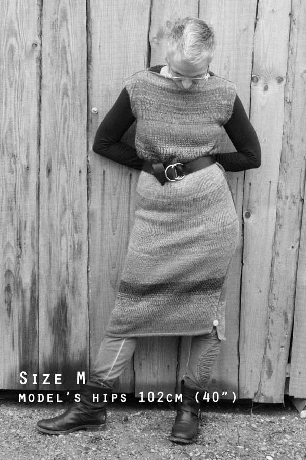 """black and white photograph of model with 102cm, 40"""" hips shown wearing Wrapture by Inese tank dress in size M"""