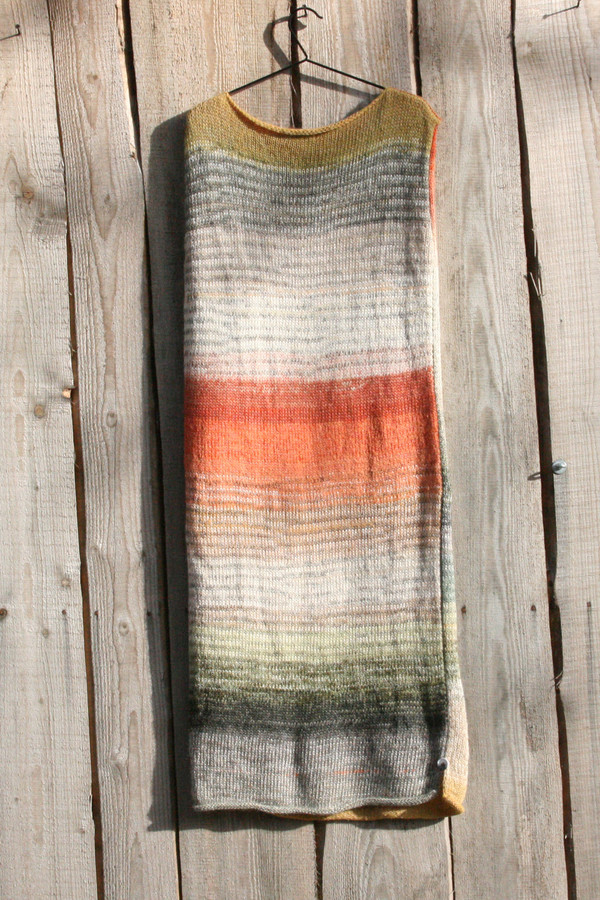 size L Birch Wood inspired random ombre stripe calf length tank dress on hanger hung on side of woodshed knit by Wrapture by Inese
