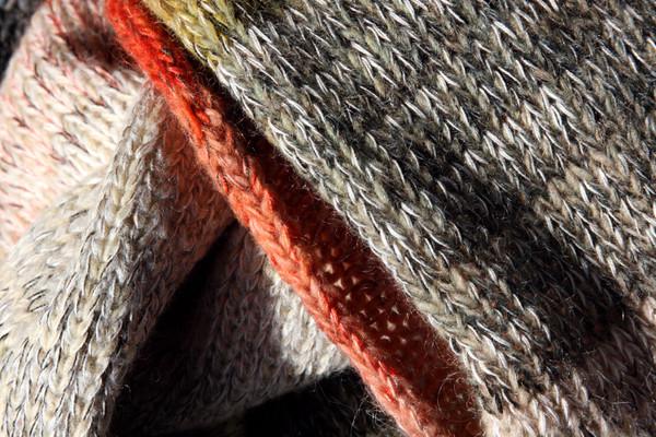 closeup of knitting detail in Birch Wood calf length tank dress knit by Inese Iris Liepina