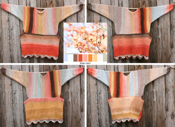 4 sides shown with color card at center of Sunlight inspired Scalloped hem sweater reversible dress hung on wood pole on side of woodshed, knit side out, knit by Wrapture by Inese