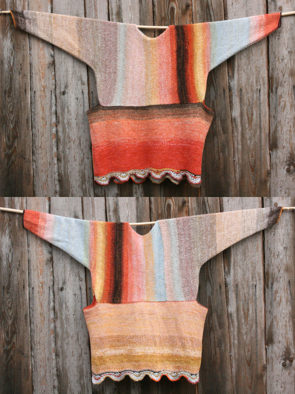both sides shown in diptych Sunlight inspired scalloped hem sweater reversible dress hung on wood pole on side of woodshed, knit side out, knit by Wrapture by Inese