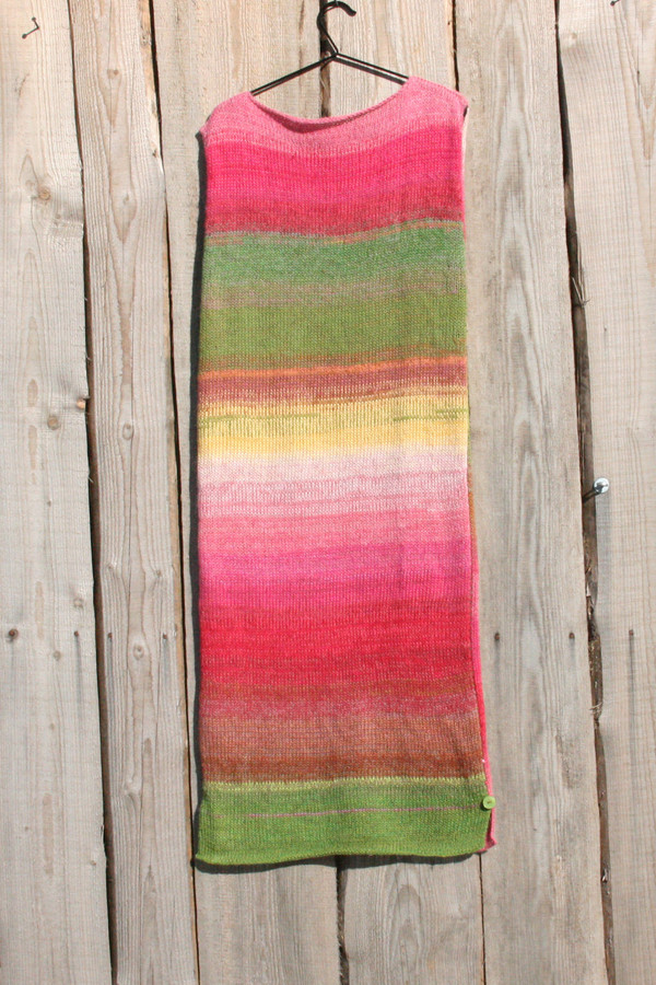size L Waterlilies inspired random ombre stripe calf length tank dress on hanger hung on side of woodshed knit by Wrapture by Inese