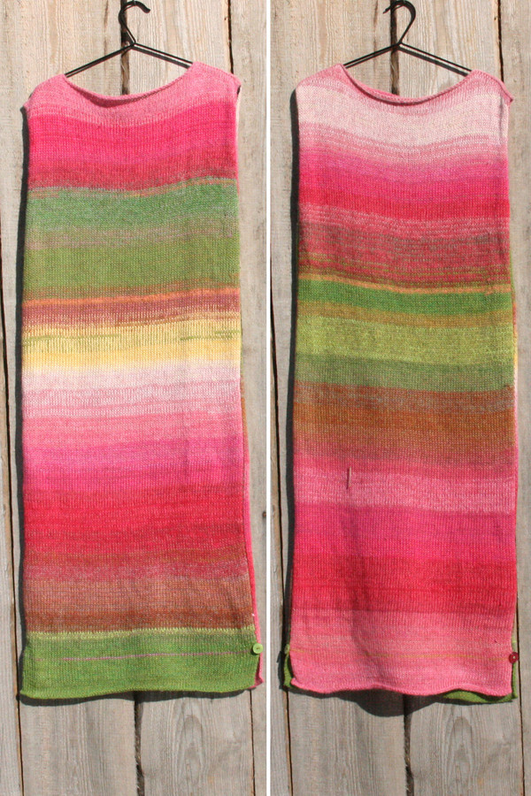 both sides in double photograph of size L Waterlilies inspired random ombre stripe calf length tank dress on hanger hung on side of woodshed knit by Wrapture by Inese