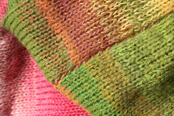 closeup of knitting detail with contrast stitching in Waterlilies calf length tank dress knit by Inese Iris Liepina