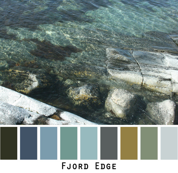 blue water at the edge of a fjord with grey rocks photographed by Inese Iris Liepina and made into a color card for custom ordering knitwear from Wrapture by Inese
