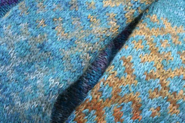 Agate Latvian symbols sweater detail of pattern knitting