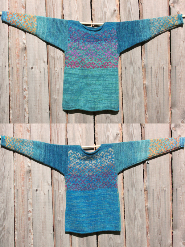 view of both sides of reversible unisex Agate Latvian symbols sweater size M on woodshed wall, knit by Wrapture by Inese