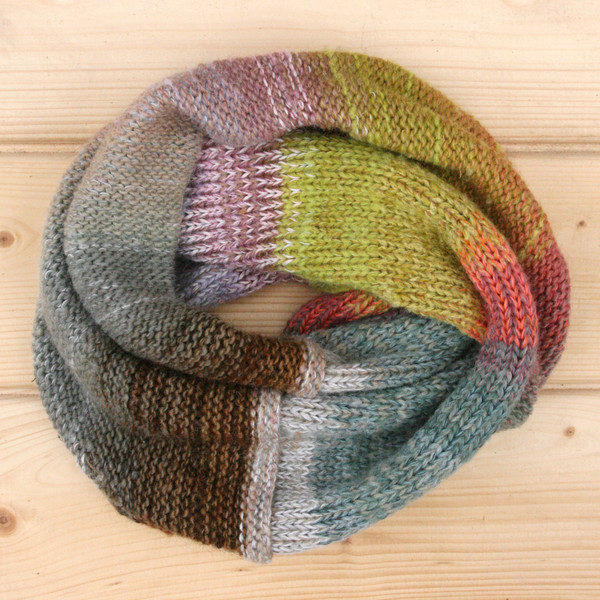 Winter Apples color way cowl knit with local wool, cotton kid mohair and silk by Wrapture by Inese