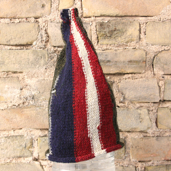 Latvian Flag striped pixie gnome hat knit with wool, kid mohair, silk, cotton, prewashed, knit by Wrapture by Inese