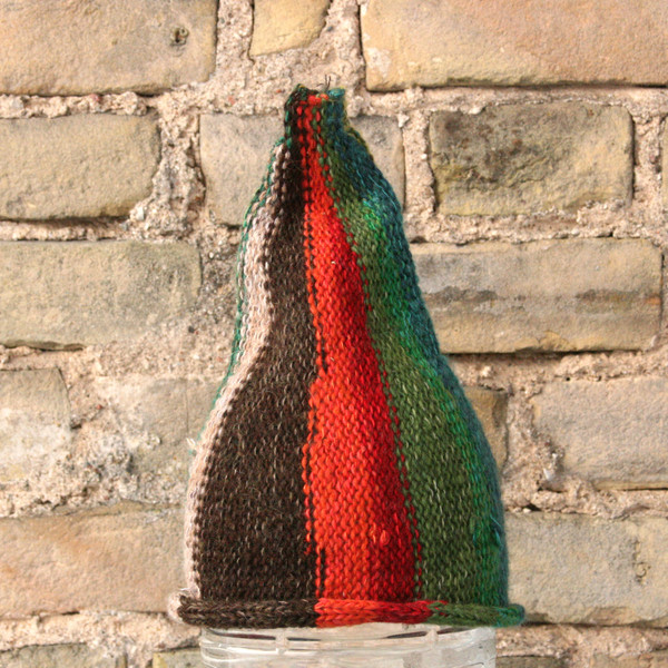 Rowan Berry kids or XS adult striped pixie gnome hat knit with wool, kid mohair, silk, cotton, prewashed, Wrapture by Inese
