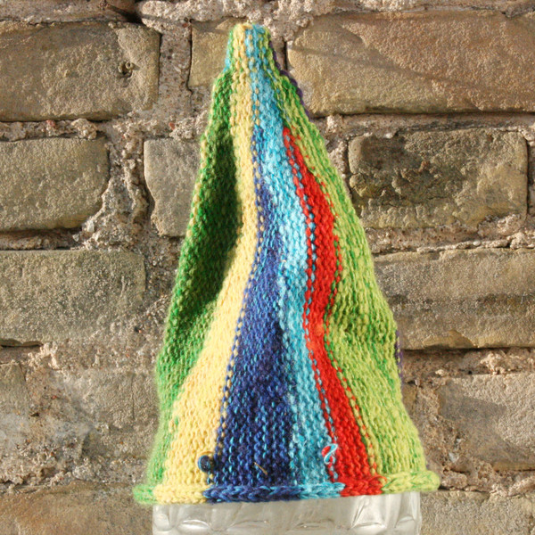 Circus baby 1-3 years striped pixie gnome hat knit with wool, kid mohair, silk, cotton, prewashed, Wrapture by Inese