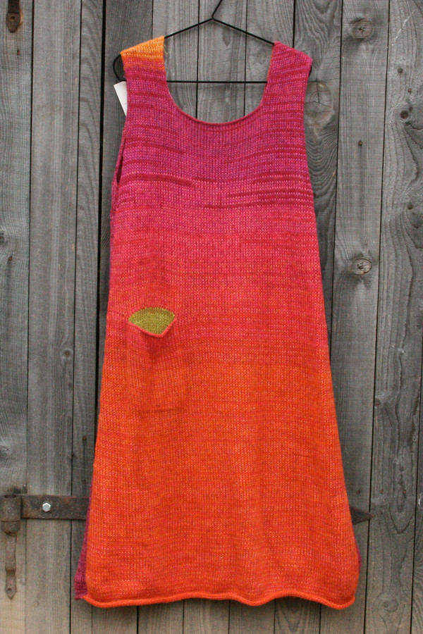 reversible A-line sarafan dress in Echinacea colors