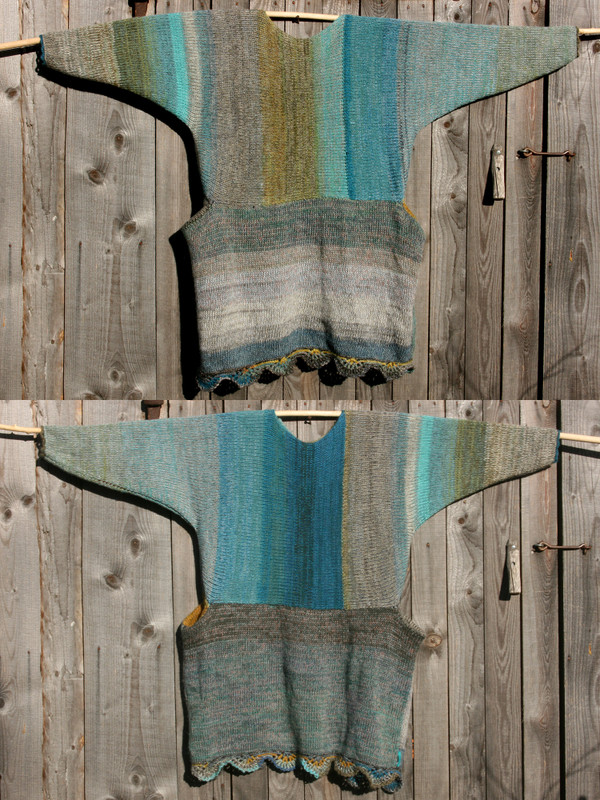 both sides shown in diptych Fjord Edge inspired scalloped hem sweater reversible dress hung on wood pole on side of woodshed, knit side out, knit by Wrapture by Inese