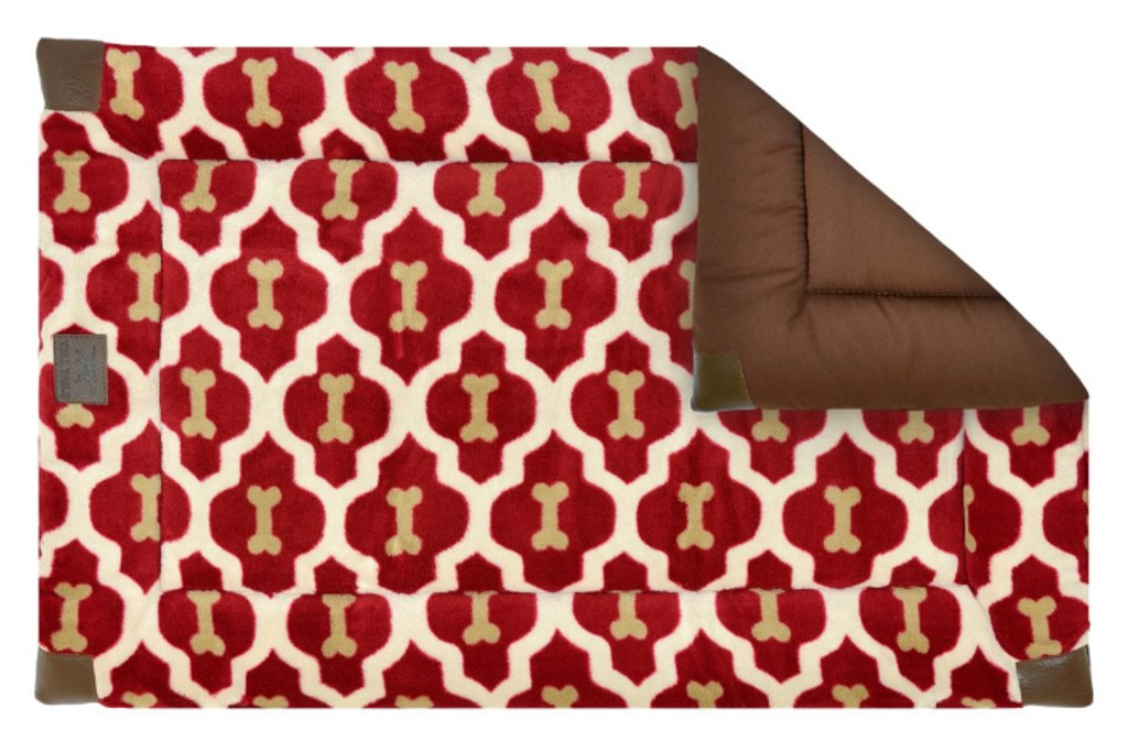 Tall Tails Red Bone Fleece Crate Bed 30x19 MED