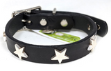 DogLa Black Leather Collar Star