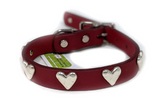 DogLa Red Leather Collar Heart
