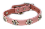 "DogLa Pink Leather Collar 12"" Wide"