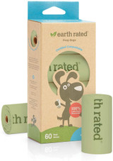 Earth Rated Poop Bags 4 Rolls - 60 Bags Vegetable Based