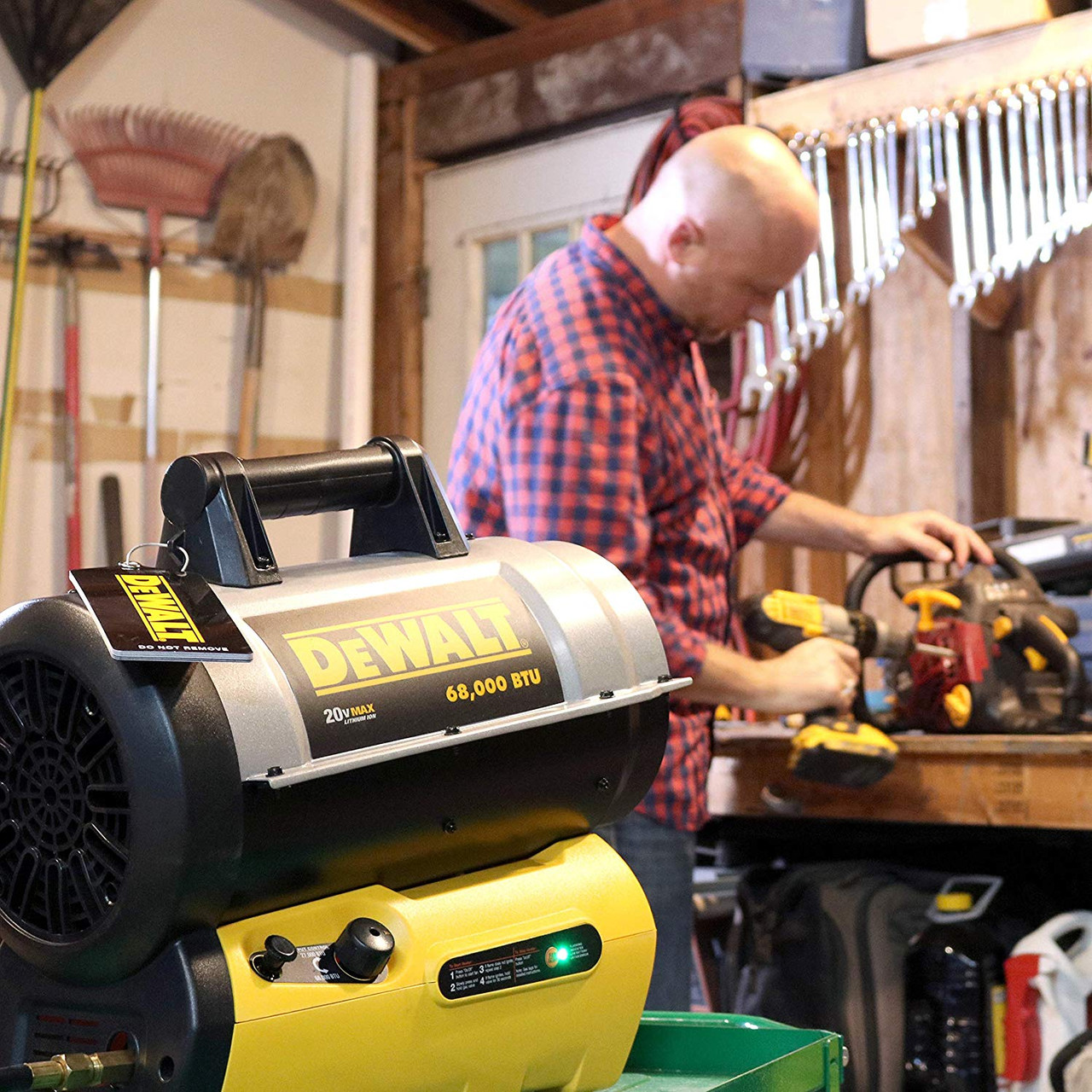68,000 BTU DEWALT Cordless Propane Forced-Air Heater