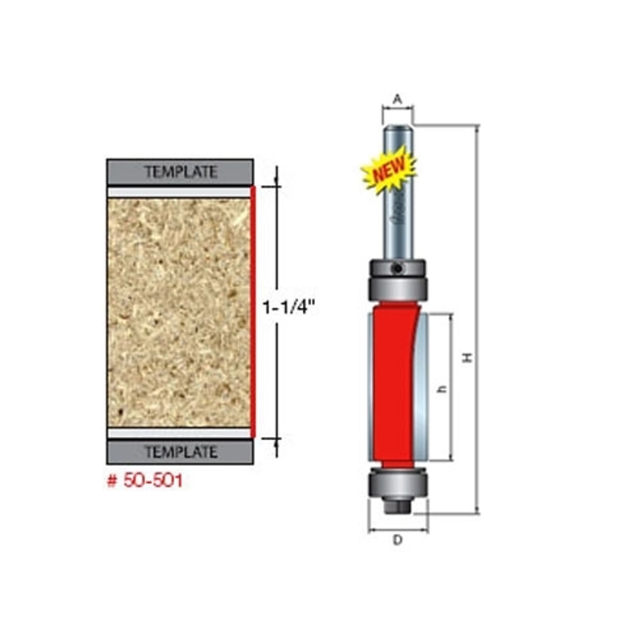 Freud 50-101 1//2-Inch Diameter Top Bearing Flush Trim Router Bit with 1//4-Inch Shank