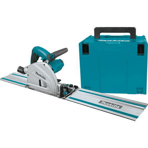 Makita SP6000J1 6.5in Plunge Circular Saw Kit, with Stackable Tool case and 55in Guide Rail