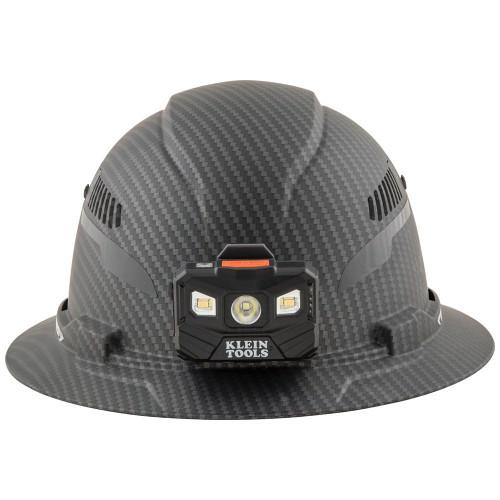 Klein 60347 Hard Hat, Premium KARBN Pattern, Vented Full Brim, Class E, Lamp