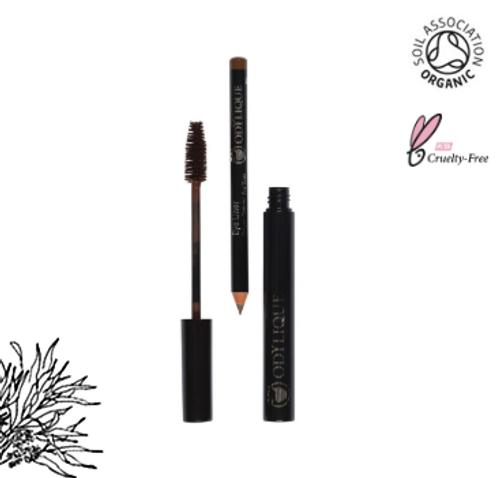 Naturkosmetik Mascara und Eye Liner Duo Braun