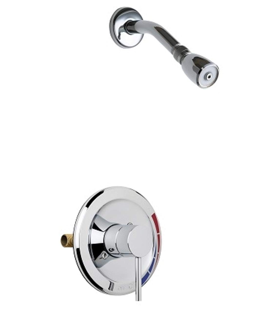 Chicago Faucets Sh Pb1 02 000 Pressure Balancing Tub And Shower Valve With Shower Head 2 5 Gpm