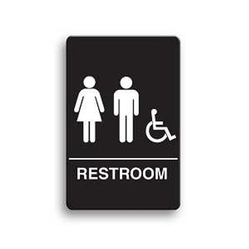 Women Black for Men Unisex 9 x 3 in with English and Symbol New Baby Changing Station Sign