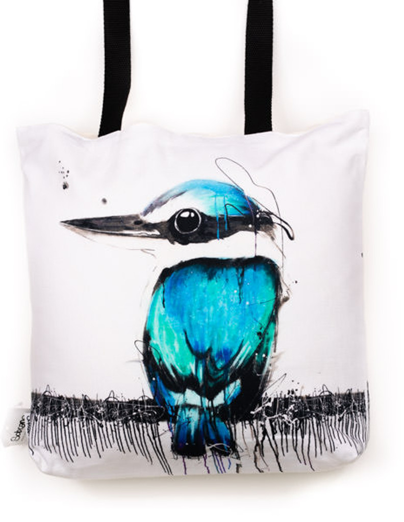 Funky all cotton tote, beautiful aqua colours.  45cm x 45cm. Scotch guard protection. Washable