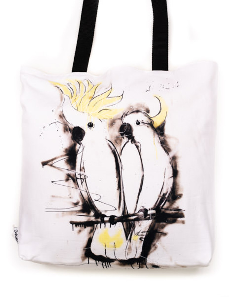 Funky all cotton tote featuring the Sulphur Crested Cockatoos.  45cm x 45cm. Scotch guard protection. Washable