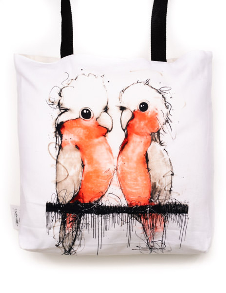 Funky all cotton tote featuring my magical Pink and Grey Cockatoo's.  45cm x 45cm. Scotch guard protection. Washable
