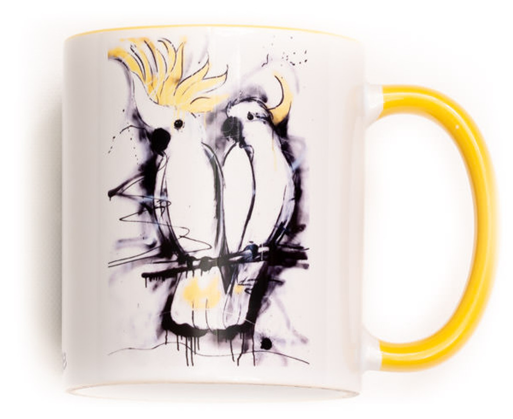 Funky Sulphur Crested Cockatoo Mug. Perfect for the variant degrees of coffee! Comes gift wrapped in Sobrane Blue wrapping paper and image. Image is on both sides of the mug.