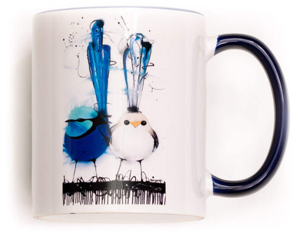 Funky Wren Family Mug. Perfect for the variant degrees of coffee! Comes gift wrapped in Sobrane Blue wrapping paper and image. Image is on both sides of the mug.