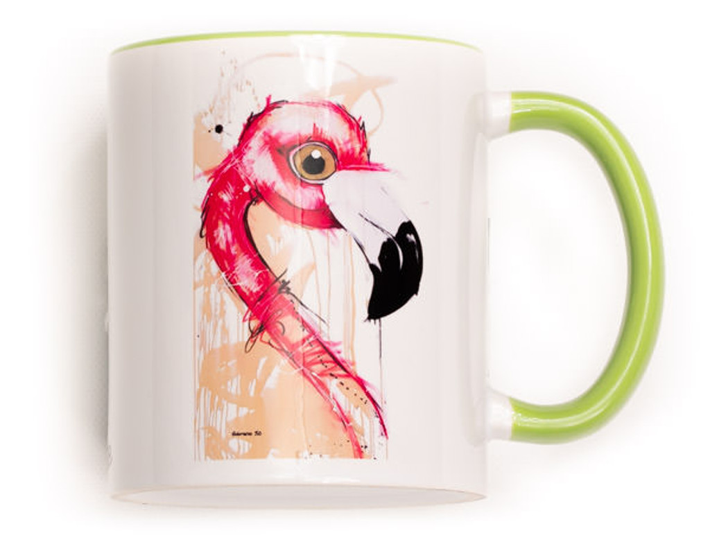 Funky Flamingo Mug. Perfect for the variant degrees of coffee! Comes gift wrapped in Sobrane Blue wrapping paper and image. Image is on both sides of the mug.