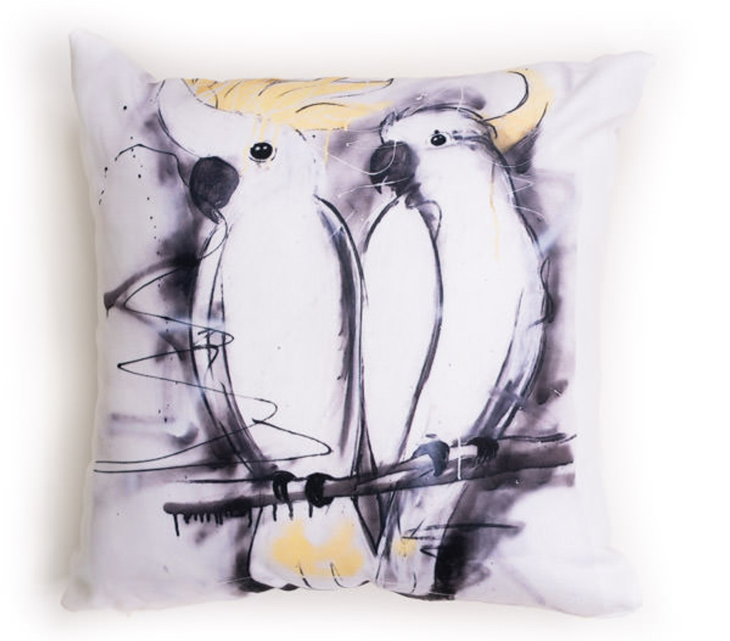 All cotton Sulphur Crested Cockatoos Cushion. 45cm x 45cm. Image on both sides of the cushion. Shipped without fill. Washable and scotch guarded.