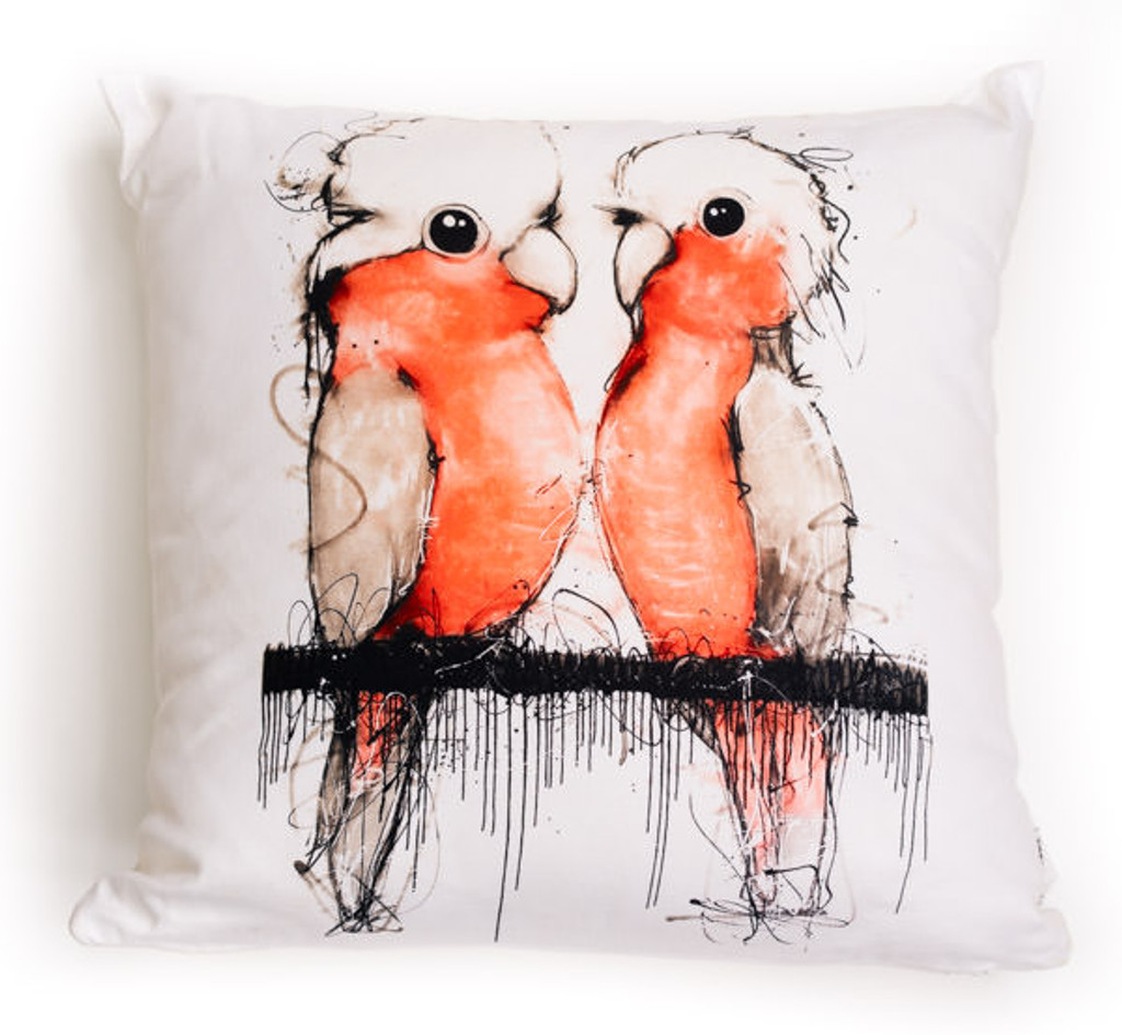 All cotton Pink and Grey Cockatoos Cushion. 45cm x 45cm. Image on both sides of the cushion. Shipped without fill. Washable and scotch guarded.