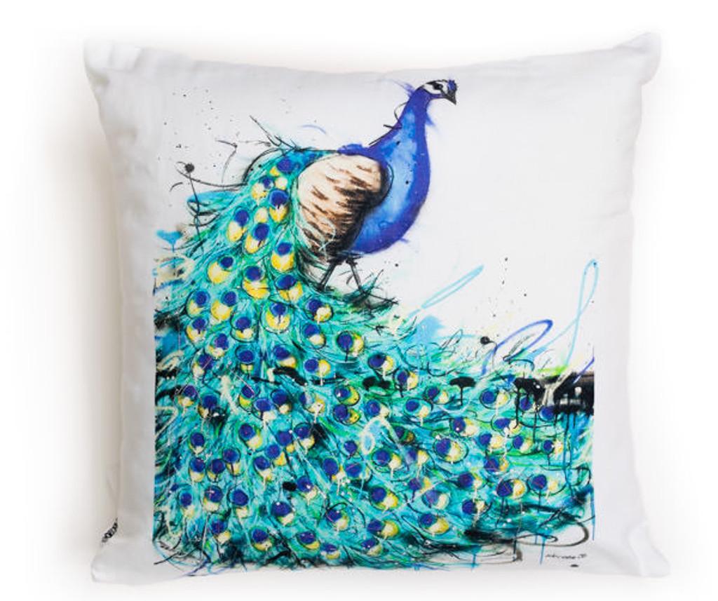 All cotton Peacock Cushion. 45cm x 45cm. Image on both sides of the cushion. Shipped without fill. Washable and scotch guarded.