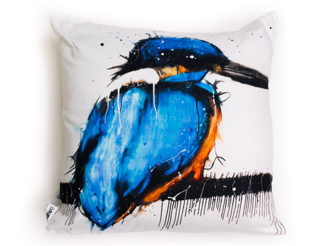 All cotton Azure Kingfisher Cushion. 45cm x 45cm. Image on both sides of the cushion. Shipped without fill. Washable and scotch guarded.