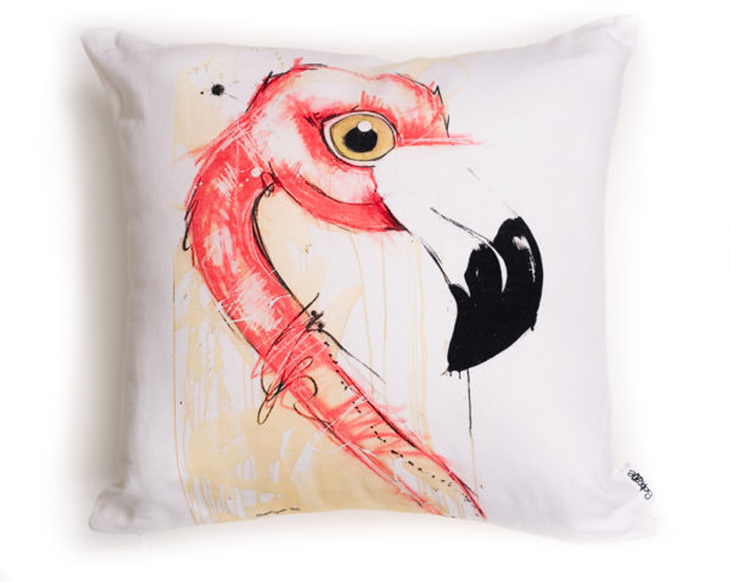 All cotton Flamingo Cushion. 45cm x 45cm. Image on both sides of the cushion. Shipped without fill. Washable and scotch guarded.