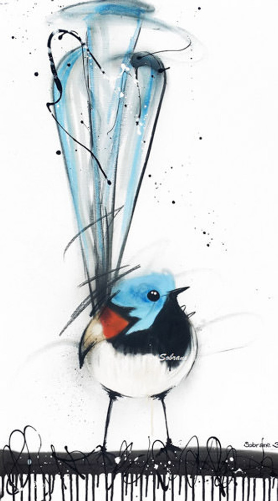 Variegated Wren Print on canvas by Sobrane. This product is stretched on wood and ready to hang. Comes in various sizes. This product is produced in Broome.