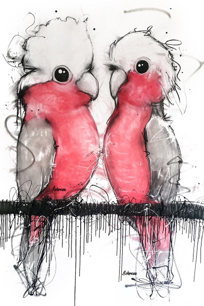 Pink and Grey Cockatoo Original artwork completed in Pastels, spray-paint, charcoal and enamel.  Artwork is on canvas