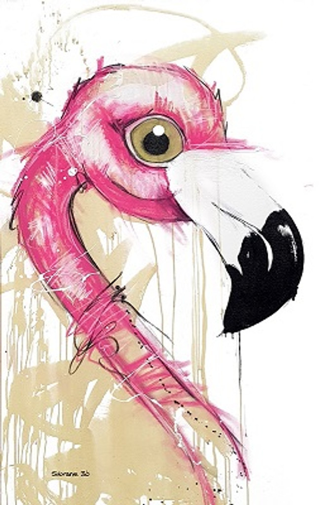 Flamingo Original artwork completed in Pastels, spray-paint, charcoal and enamel.  Artwork is on canvas