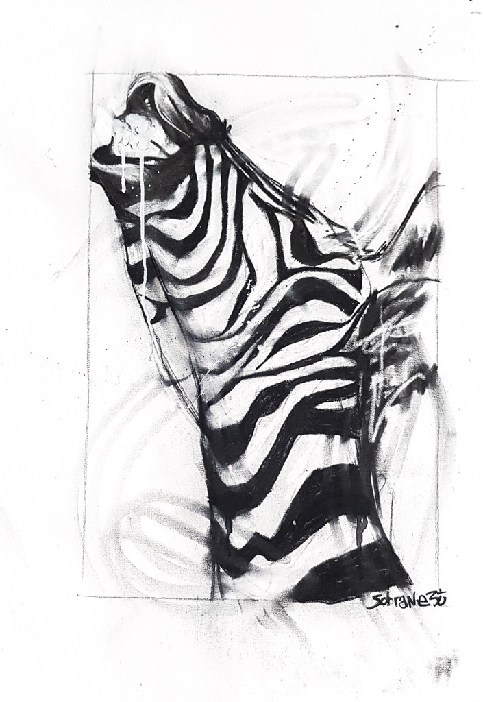 Zebra Original Original artwork completed in Pastels, spray-paint, charcoal and enamel.  Artwork is on canvas and framed  60 x 40 unframed- Final framed dimensions TBC FREE SHIPPING ON ALL ORIGINALS WORLDWIDE