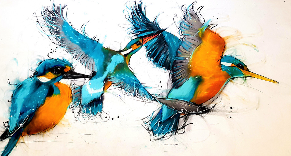 Reflection of Kingfisher in Flight Created in Sobrane's Whalebeach Studio, Sydney NSW Original artwork completed in Pastels, spray-paint, charcoal and enamel.  Artwork is on canvas 110 cm x 190 cm FREE SHIPPING ON ALL ORIGINALS WORLDWIDE -**This Original will be shipped unstretched and rolled