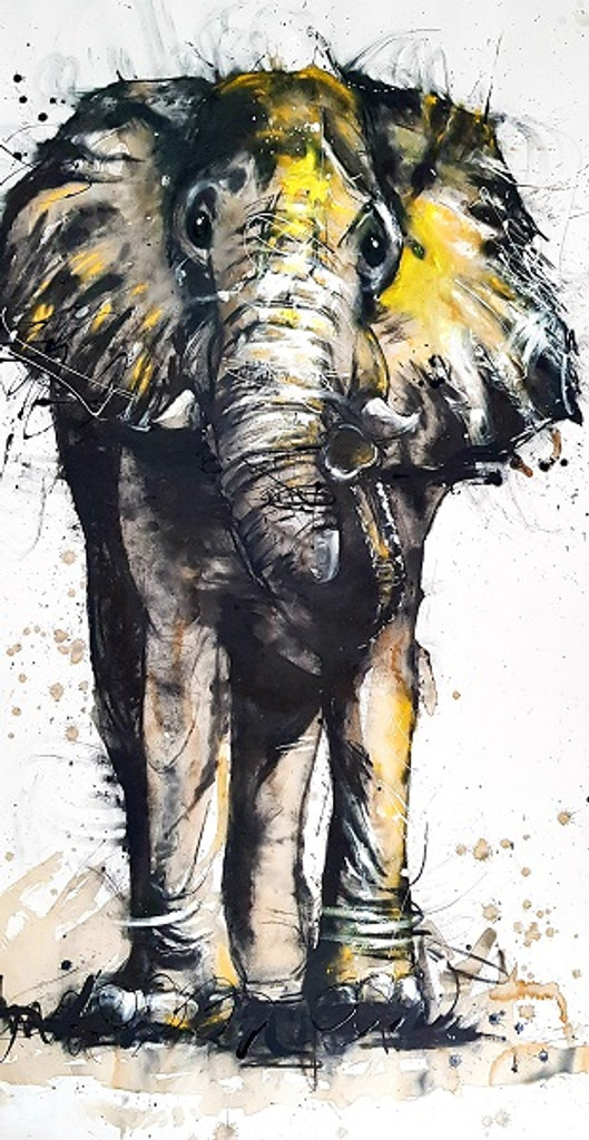 Elephant Original Created in Sobrane's Whalebeach Studio, Sydney NSW Original artwork completed in Pastels, spray-paint, charcoal and enamel.  90 x 180 cm FREE SHIPPING ON ALL ORIGINALS WORLDWIDE FREE SHIPPING ON ALL ORIGINALS WORLDWIDE