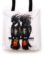 Funky all cotton tote with spirit bird, Redtail Black Cockatoo's  45cm x 45cm. Scotch guard protection. Washable